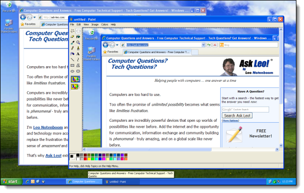 Windows XP desktop screen capture displayed within Paint