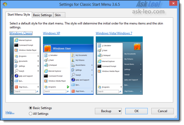 Classic Start Menu Options dialog