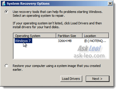 System Repair Disc System Choice