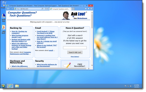 Internet Explorer as a more traditional window