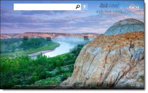 Bing application in Windows 8