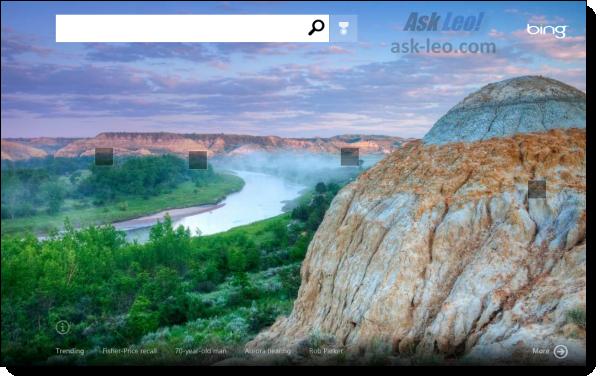 Bing application in Windows 8