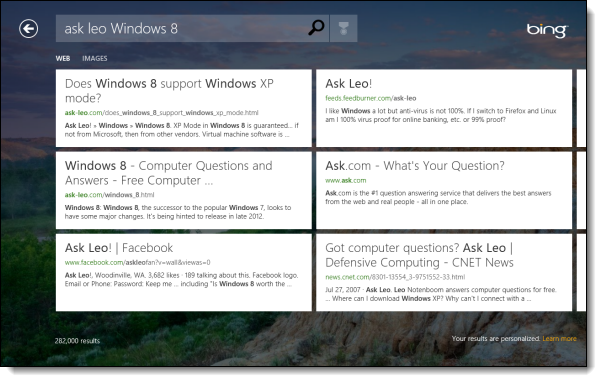 Bing application search results in Windows 8