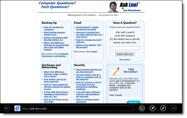 Ask Leo! in Internet Explorer 10