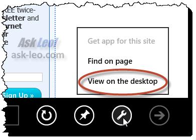 View On Desktop option
