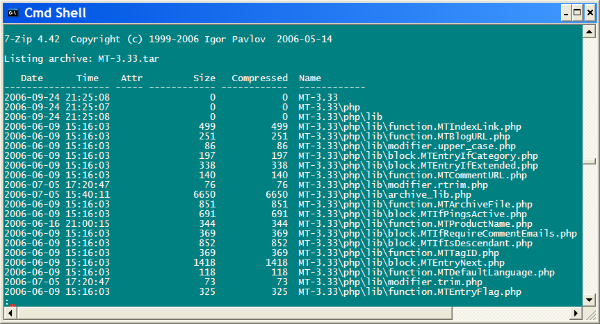 7-Zip Command Line listing of a .tar archive