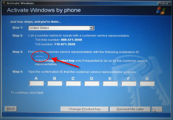 Windows Activate by Phone Screen