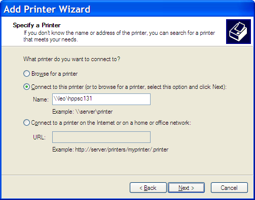 Add Printer Wizard - Specify a Printer by Name