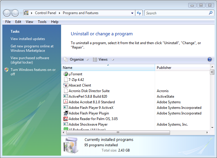 Windows Vista Uninstall or change a programs list