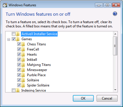 Windows Features control in Windows Vista
