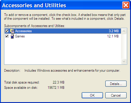 Add/Remove Windows Components: Accessories and Utilities