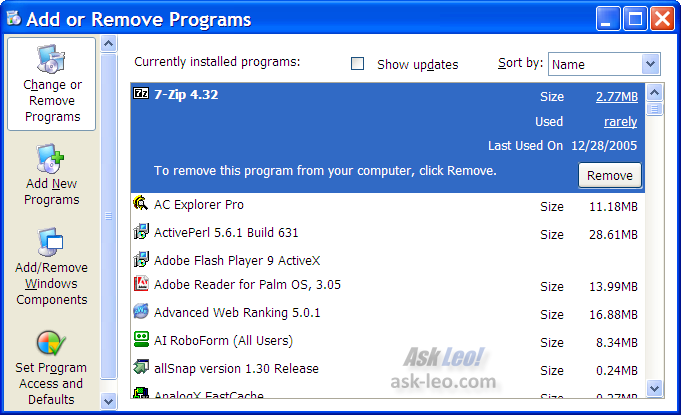 Windows XP's Add/Remove software list