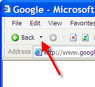 Back List dropdown button in IE 6