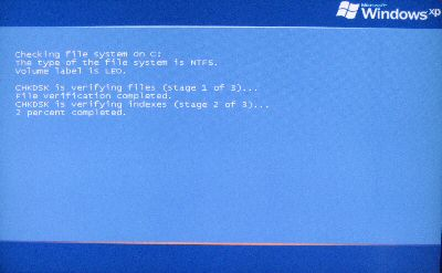 Chkdsk running at system boot time