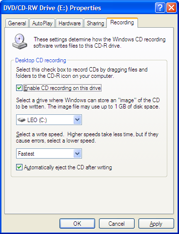 CD Drive Properties for Recording
