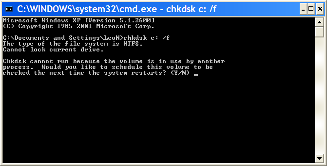 CHKDSK command asking if it should run the operation on reboot