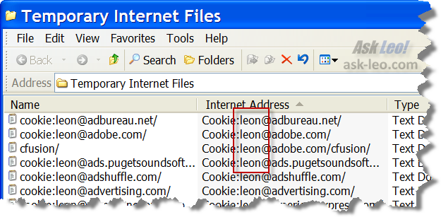 Temporary Internet Files showing Cookies