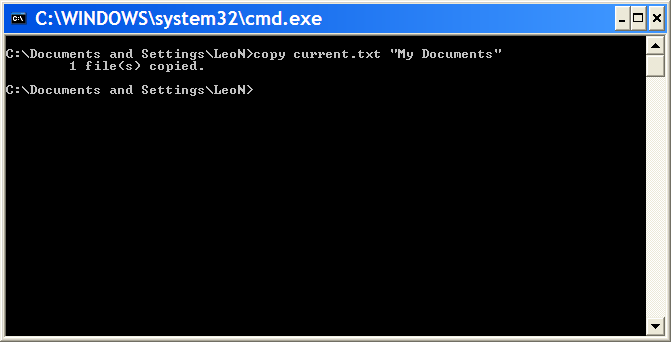 Command Prompt with a simple file copy