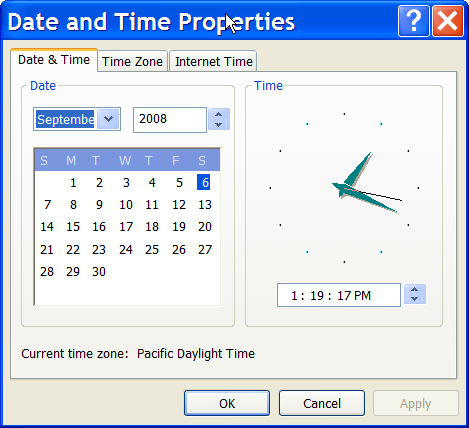 Date and Time properties in Windows XP