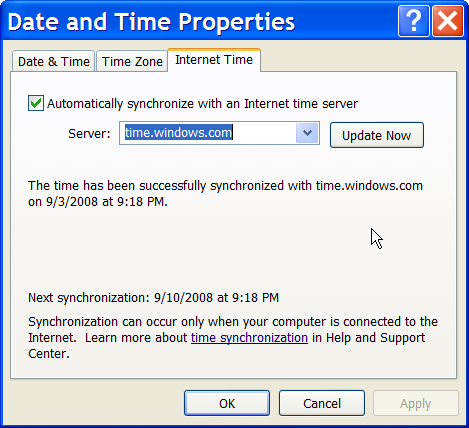 Date and Time Internet Time properties in Windows XP