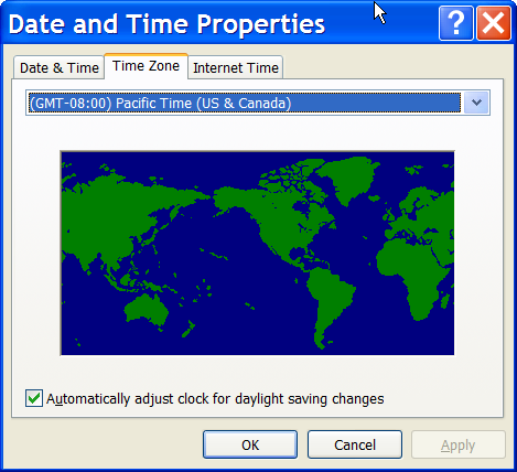 Date and Time Timezone properties in Windows XP
