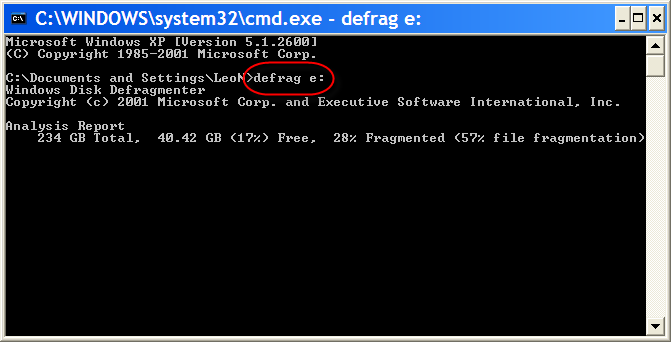 Defrag command in Command Window