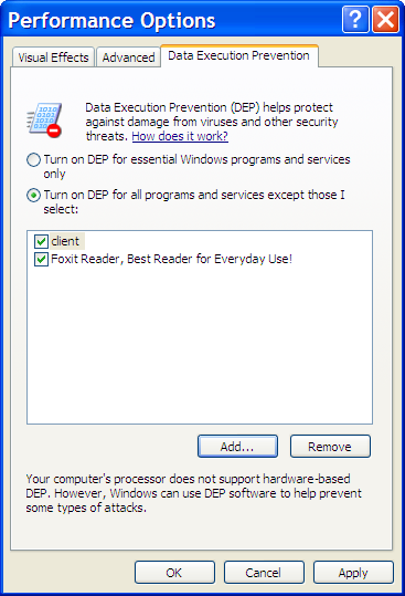 Data Execution Prevention Options with exception added