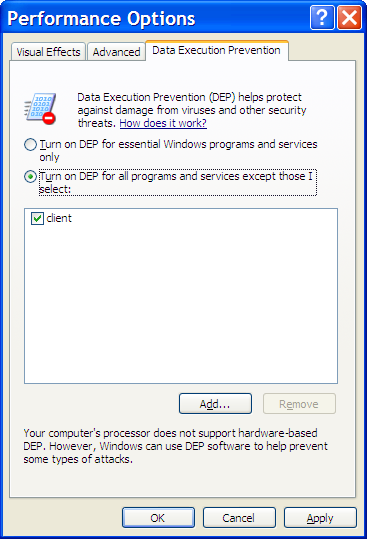 Data Execution Prevention Options