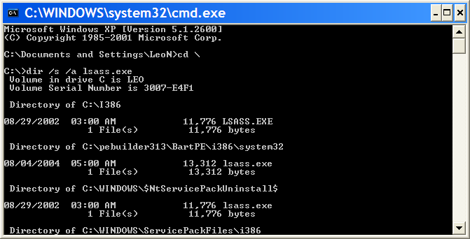 A command line search for lsass.exe