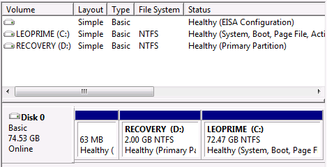 Leo's Laptop's hard drive in Disk Manager