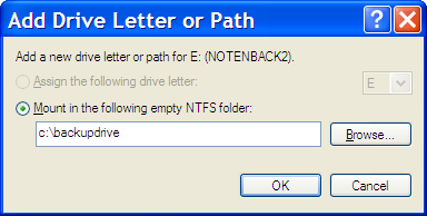 Add Drive Letter and Paths... for E: with entry