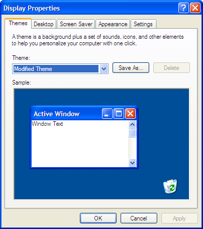 Windows XP Display Properties Dialog