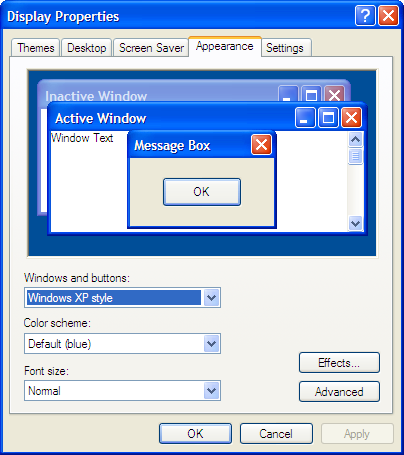 Windows XP Display Properties Dialog Appearance Tab