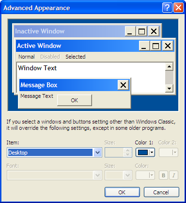 Windows XP Display Properties Dialog Appearance Tab Advanced