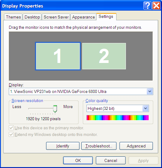 Display Settings in Windows XP