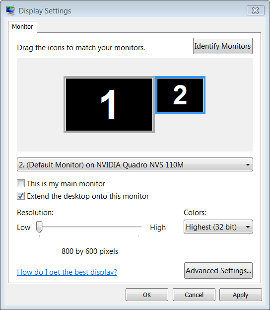 Dual Monitor Settings