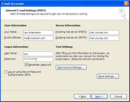Outlook 2003 Email Account Setup