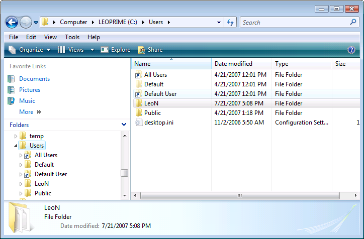 Windows Explorer open on the Users folder