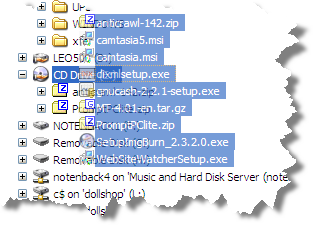 Files being dropped onto the CD-ROM drive in Windows Explorer