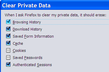 Setting dialog for Clear Private Data options