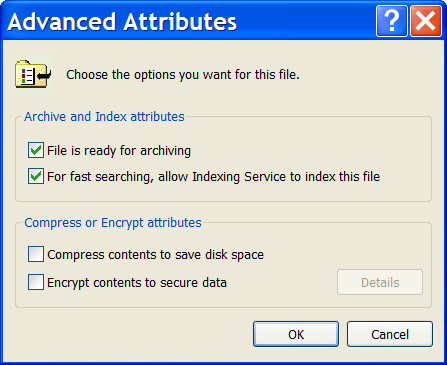 File advanced attributes, including compression and encryption
