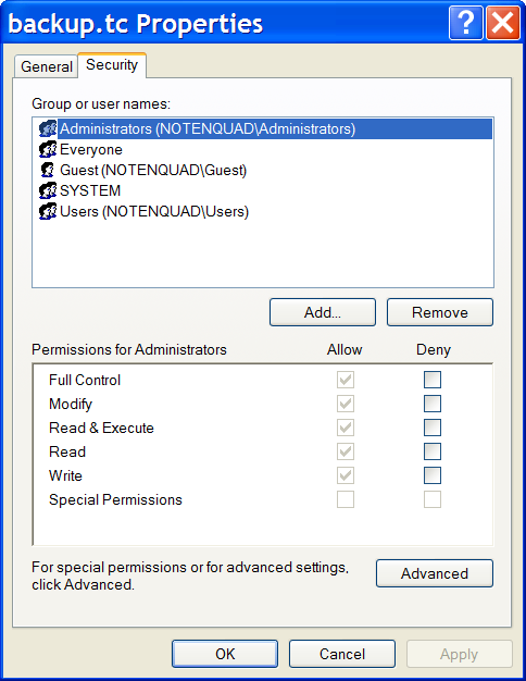 File security settings