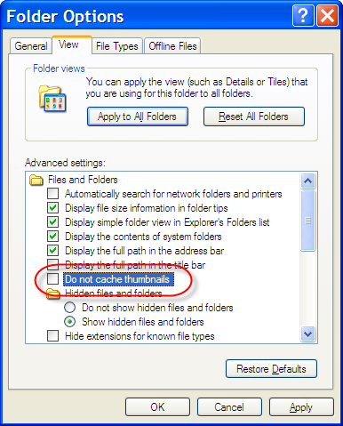 Windows Explorer Thumbnail Caching Options