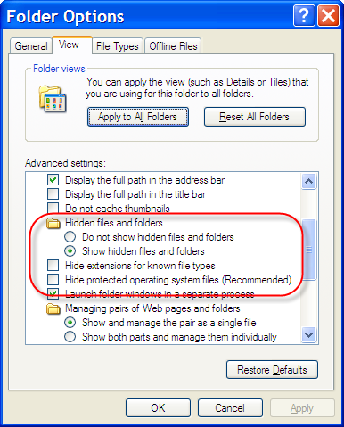 Windows Explorer Settings to show all