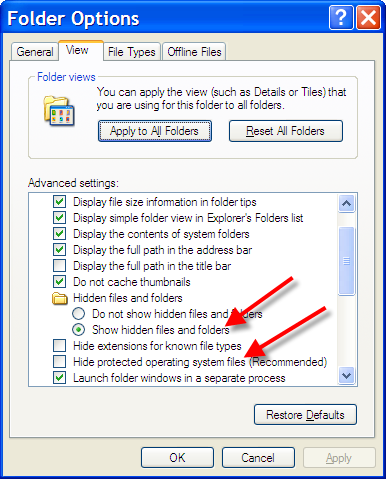 Folder options, highlighting the hidden files settings