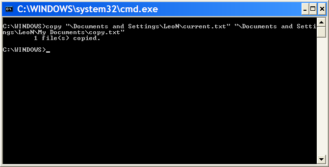 Command Prompt having executed a copy using full paths