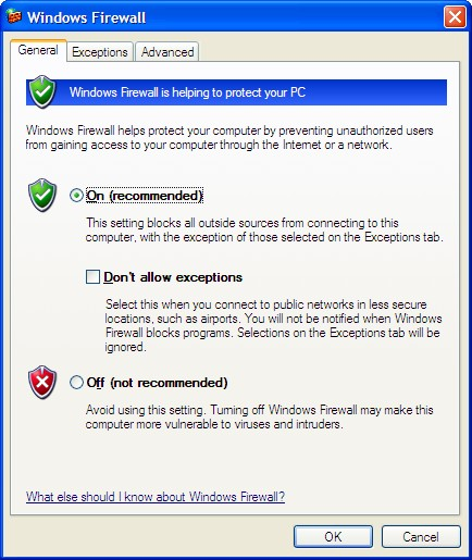 Windows Firewall General Tab