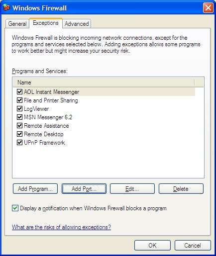 Windows Firewall Exceptions Tab