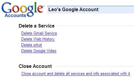 Google Delete a Service Page