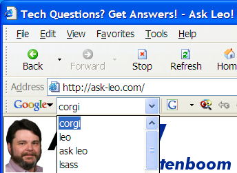 Google Toolbar Search History Dropped Down